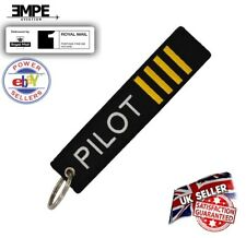 *New* PILOT crew captain tag bag label key chain ring Airbus Boeing embroidered