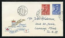 NORWAY 1957 KING'S BIRTHDAY ISSUE ON CACHETED FDC TO MICHIGAN #358-59