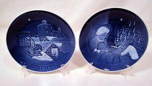 B&G COPENHAGEN 1977 & 1978 Porcelain Christmas Eve Plates - Blue & White