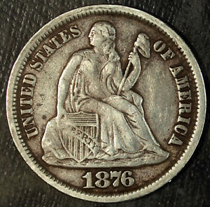 1876 CC Seated Liberty Silver Dime ☆☆ Circulated ☆☆ Set Filler  202