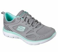 Women's Skechers Summits Suited Gray Turquoise 12982/GYTQ with Memory Foam