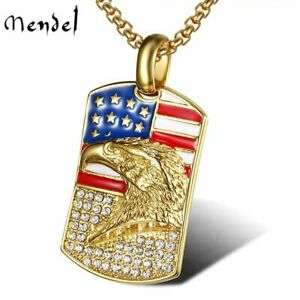 Mens Patriotic American Flag Eagle Gold Necklace Pendant Stainless Steel Diamond