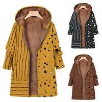 Damen Gestreift Gepunktet Mantel Kapuzenjacke Fleecejacke Flauschiges Mantel 38