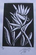 "LYNN KEATING AUSTRALIAN LARGER LINOCUT ""BIRD OF PARADISE FLOWER"" 2015 EDIT A/P"