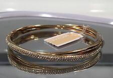 NEW MICHAEL KORS CRISSCROSS STAINLESS STEEL CRYSTAL PAVE WOMEN GOLD BRACELET