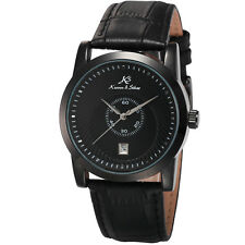 KS Luxury Mens Black Leather Date Display Automatic Mechanical Sport Wrist Watch