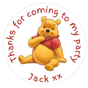 48 Personalised Winnie The Pooh Party Bag Stickers Sweet Bag Seals 40mm Labels