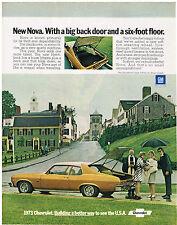 Vintage 1973 Magazine Ad Chevrolet Nova Has Hatchback Plus Back Seat Folds Down