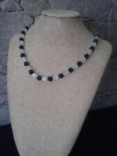 """19 1/2"""" HANDMADE SILVER PLATED white CATS EYE & BLACK LAVA NECKLACE"""