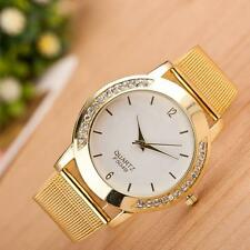 Luxury Women Crystal Golden Stainless Steel Analog Quartz Wrist Watch Bracelet