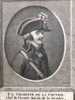 Général de Charette Rare Gravure 18ème Chouans Vendée Couffé Hoche Révolution