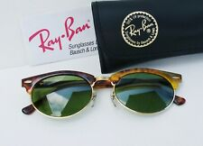 Vintage B&L Ray Ban USA  Clubmaster  Tortoise Oval Green Lenses W1265   w/ Case
