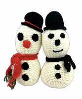Lot of 2 Snowman Couple Handmade Crocheted Cute Christmas Decoration