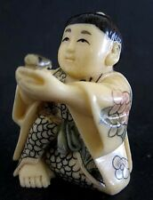Japanese ivory color bone  netsuke -Chinese Boy Offers U Swallow Bird