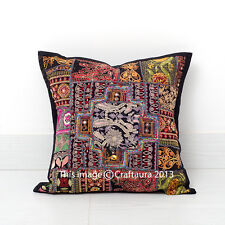 """Indian Cotton Pillow Cushion Cover Patchwork Embroidered Pillowcases Throw 16"""""""