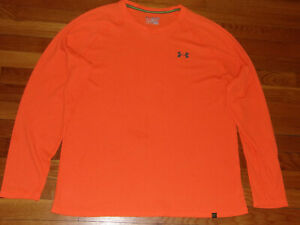 UNDER ARMOUR LONG SLEEVE ORANGE FITTED THERMAL SHIRT MENS 2XL EXCELLENT COND.