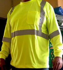Large high visibility Safety Long Sleeve shirt Lime