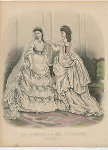 M1610  Victorian Fashion Plate 1870s hand colored MME DEMORSETS