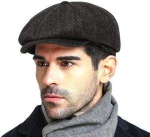 Men's Newsboy Gatsby Hat Blend Wool Vintage Flat Ivy Cabbie Cap Boyfriend Gifts