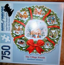 Bits And Pieces THE VILLAGE WREATH Shaped Christmas Puzzle 750pc  Free Shipping
