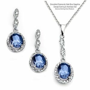 Simulated Diamonds Blue Sapphire Dangle Sterling Silver Earring & Necklace Set