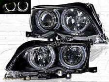 2002-05 E46 3-SERIES 4DR SEDAN DUAL HALO PROJECTOR BLACK HEADLIGHTS 03 04