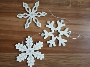 3 x nordic style wood/silver detail  christmas snowflakes hangin dec/present top