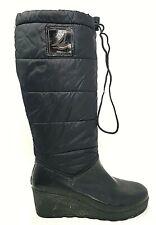 SPERRY TOP SIDER Womens Black Mid Calf Wedge Puffer & Rubber Rain Boots Sz 8 M