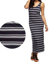 Cotton On Women Casual basic Viscose Navy Blue White Striped Tank Maxi Dress