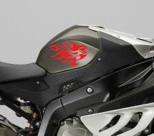 2 X Pegatina de tanque de combustible de Llama Fuego Vinilo Arte Calcomanía De Motor De La Motocicleta Moto Bike