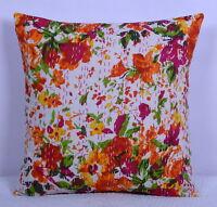 Indisch Kissenbezug Handmade Blumenmuster Baumwolle Kantha Gesteppt Kunst 40.6cm