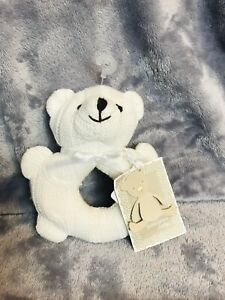 John Lewis Baby White Cable Knit Bear Rattle BNWT