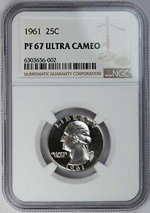 1961 NGC PF PR 67 Ultra Cameo United States / American 25c Washington Quarter