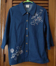 Allison Daley Blue Denim Jacket With Beautiful Embroidery & Button Designs SZ 12