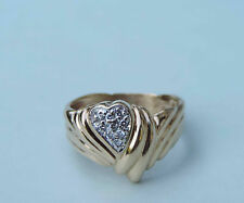 Ladies Wrapped Heart Diamond Cluster Ring w/ 9 Genuine Dia. - 10K Yellow Gold