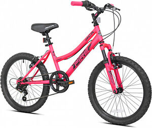 Girls Pink BMX Bike 20 Inch Bicycle 6 Speed Off Road Front Shocks Padded Seat