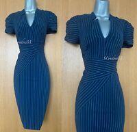 KAREN MILLEN UK 10 Navy Pinstripe Cotton Blend Work Office Formal Shirt Dress