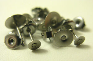 Stainless Steel flat pad earring post findings 3mm 4mm 6mm 8mm or 10mm