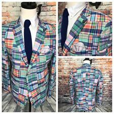 Patchwork Madras Cotton Sport Coat Blazer Jacket Mens Size 44 Regular
