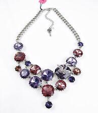 BETSEY JOHNSON 'Iconic Amethyst' Purple Crystal Gem Bird Frontal Necklace $165