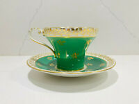 Vintage Aynsley Tea Cup & Saucer Set Green Gold English Fine Bone China