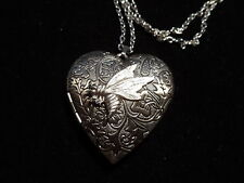 ANTIQUE SILVER BEE VICTORIAN HEART LOCKET
