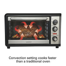Black Extra Large Convection Oven W/ Rotisserie Home Kitchen Baking Broiler