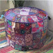 "Foot Stool Cover Indian Vintage Ottoman Pouf Patchwork Ottoman Living Room""18"