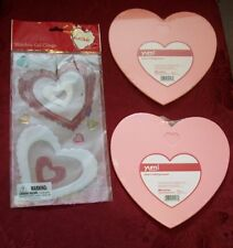 Lot of 3, (2) Heart Shaped Cutting Boards & (1) Set Gel Cling Heart Stencils-New