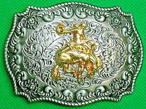 "Belt Buckle ""RODEO"" Horse Breaking, 4 cm Wide Belt, DIY, Custom, Metal Casting."