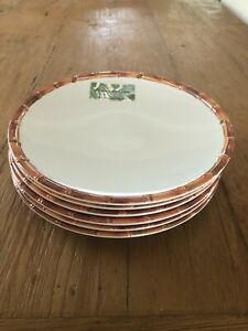 Tommy Bahama Set Of 6 Melamine Dinner Plates White Bamboo Edge New!