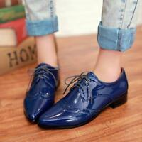 Womens lace up patent leather Brogue pointed toe wing tips Carved Casual shoes