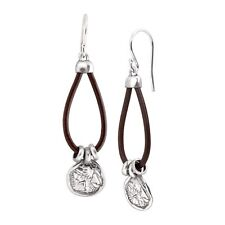 Sterling Silver & Leather Silpada 'Medallion' Drop Earrings in