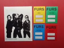 Psychedelic Furs,promo photo,4 Rare Backstage pass Originals,Various Tours